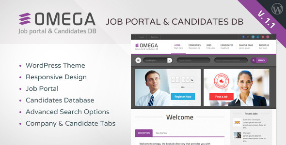 OMEGA is a Wordpress Job Portal & Candidate Database that has been conceived with a professional & corporate approach Employers & Recruiters regist
