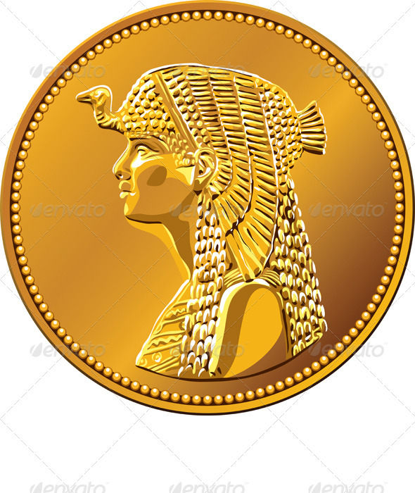 Vector Egyptian money gold coin with Cleopatra
