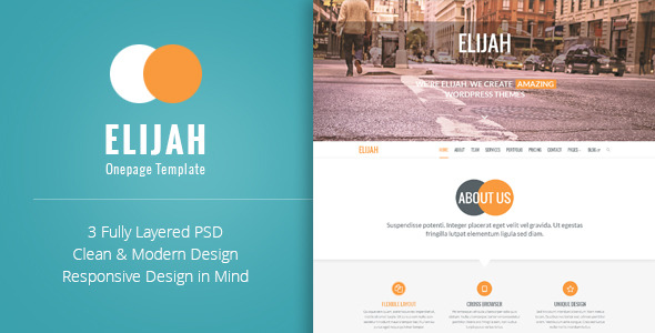 Elijah - Onepage PSD Template