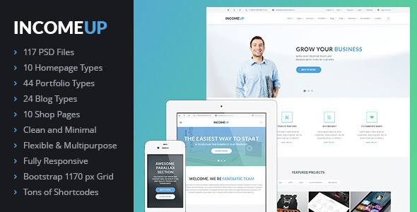 IncomeUp – Multi-purpose Business PSD Template - Business Corporate