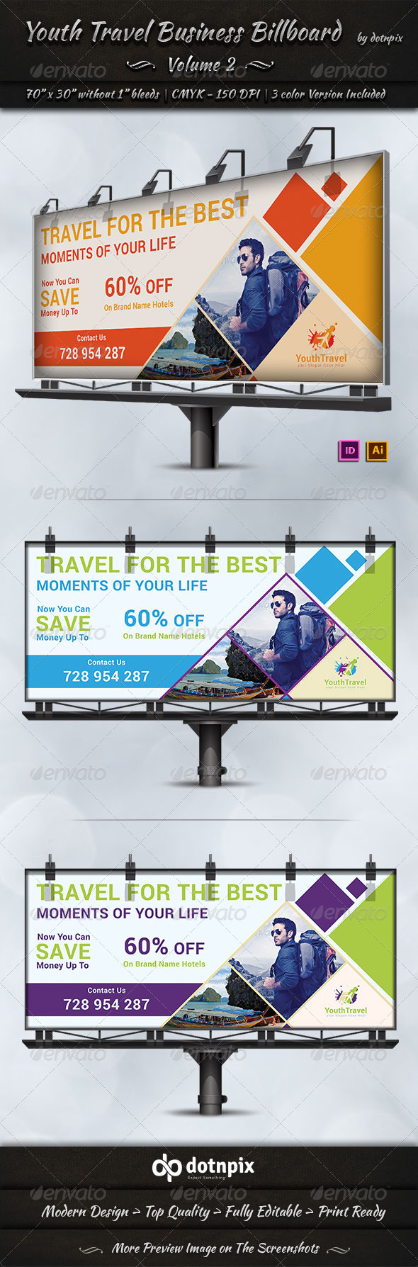 Travel / Tourism Business Billboard | Volume 3 - Signage Print Templates