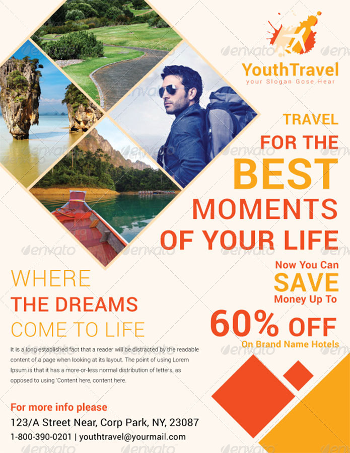 Travel Tourism Business Flyer Volume 3 by dotnpix – Tourism Brochure Template
