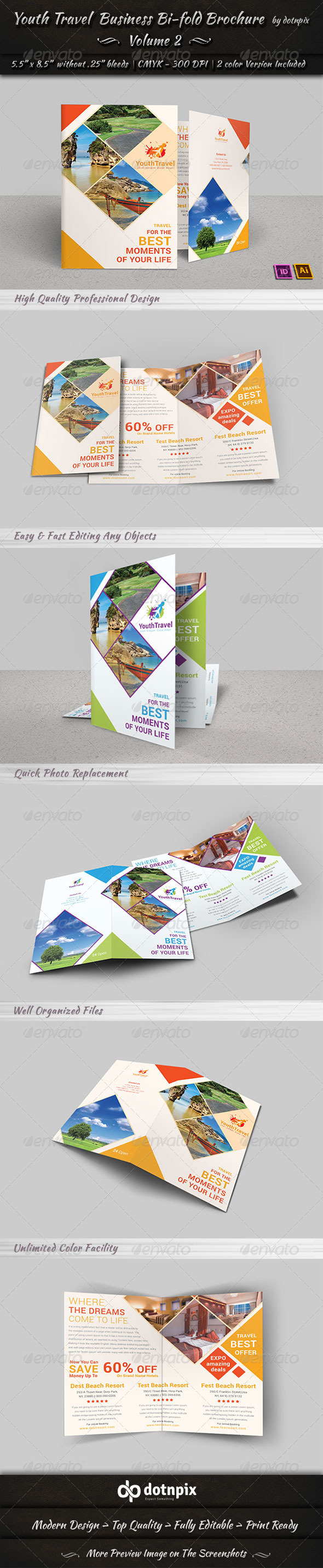 Travel Tourism Bi-Fold Brochure Volume 3