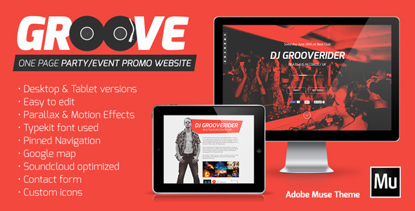 ThemeForest Groove One Page Party Event Promo Website Muse 7215135