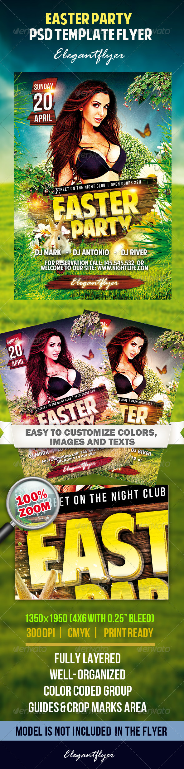 Easter Party Flyer PSD Tempate