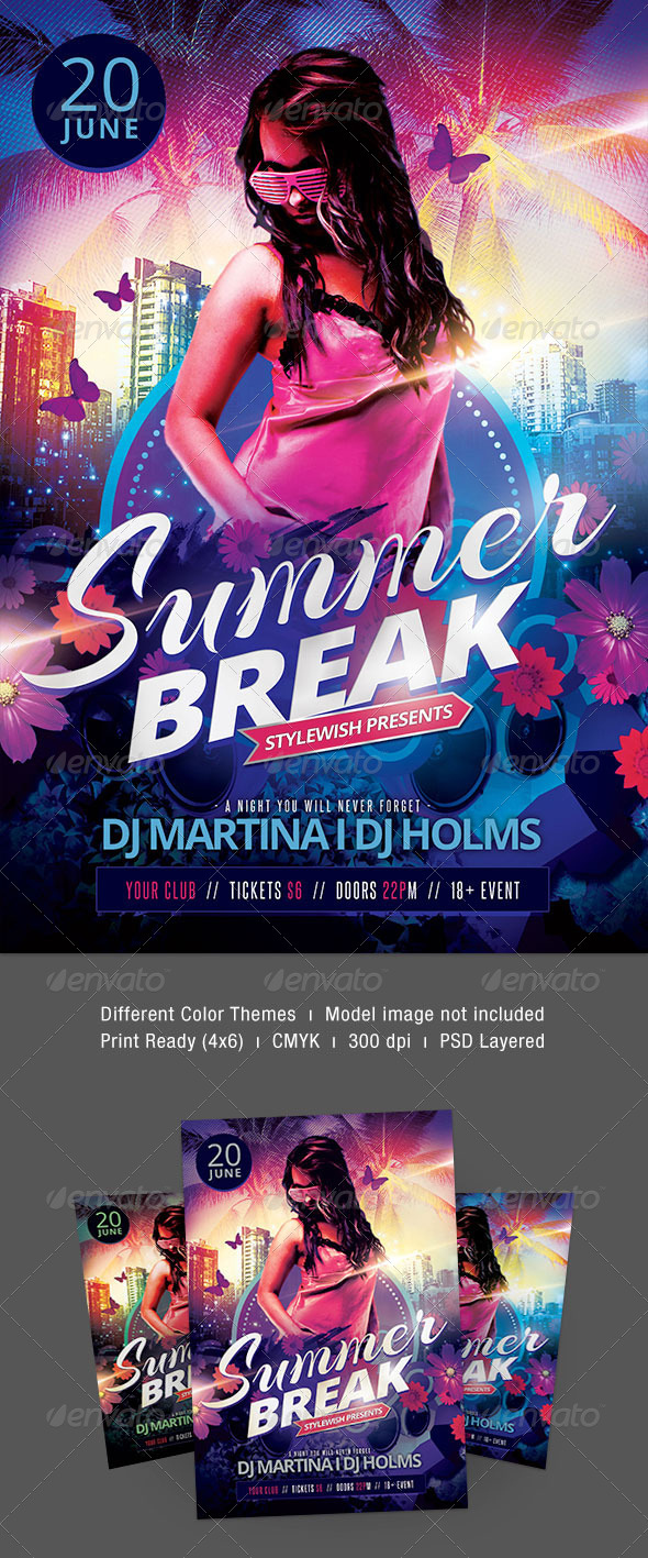 Summer Break Flyer - Clubs & Parties Events