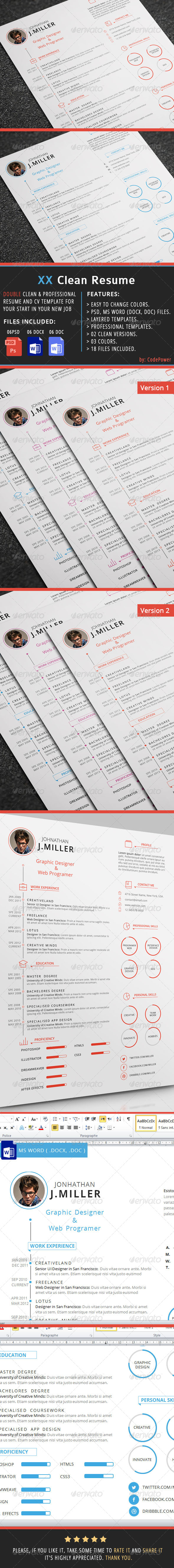 GraphicRiver XX Clean Resume 7172985