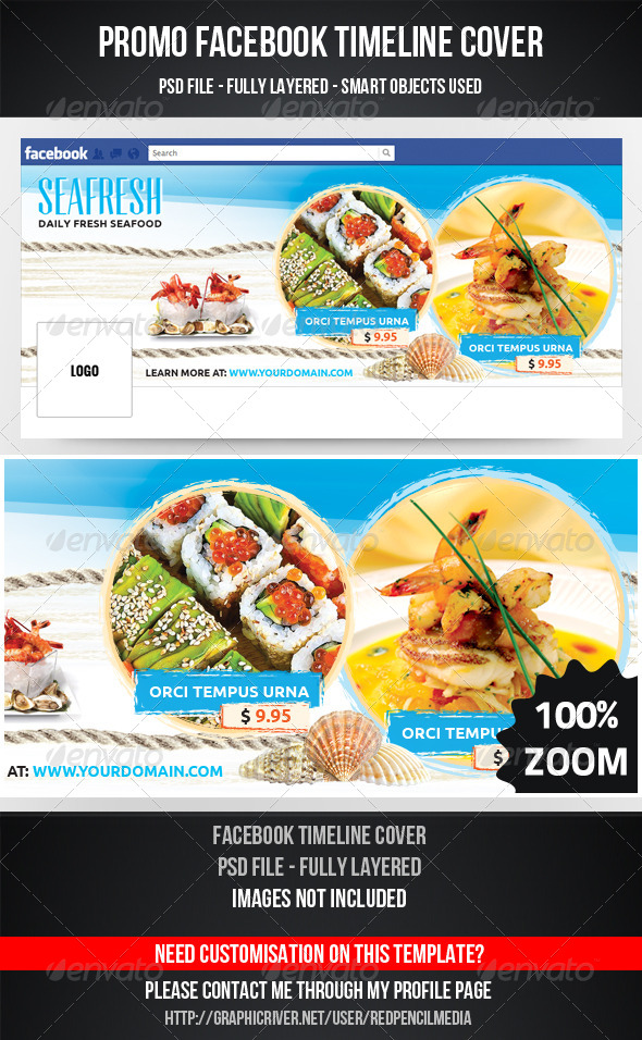 GraphicRiver SeaFood Timeline Cover 7217648