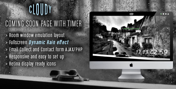 Cloudy Coming Soon with Timer and Rain Effect