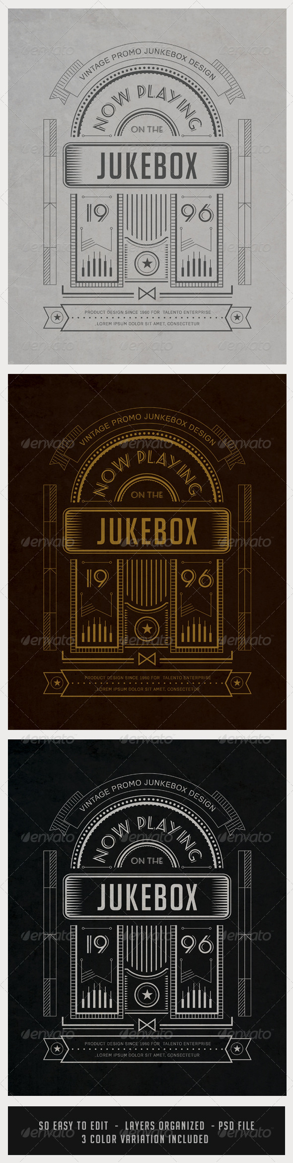Vintage Junkebox Poster with Shape Layers