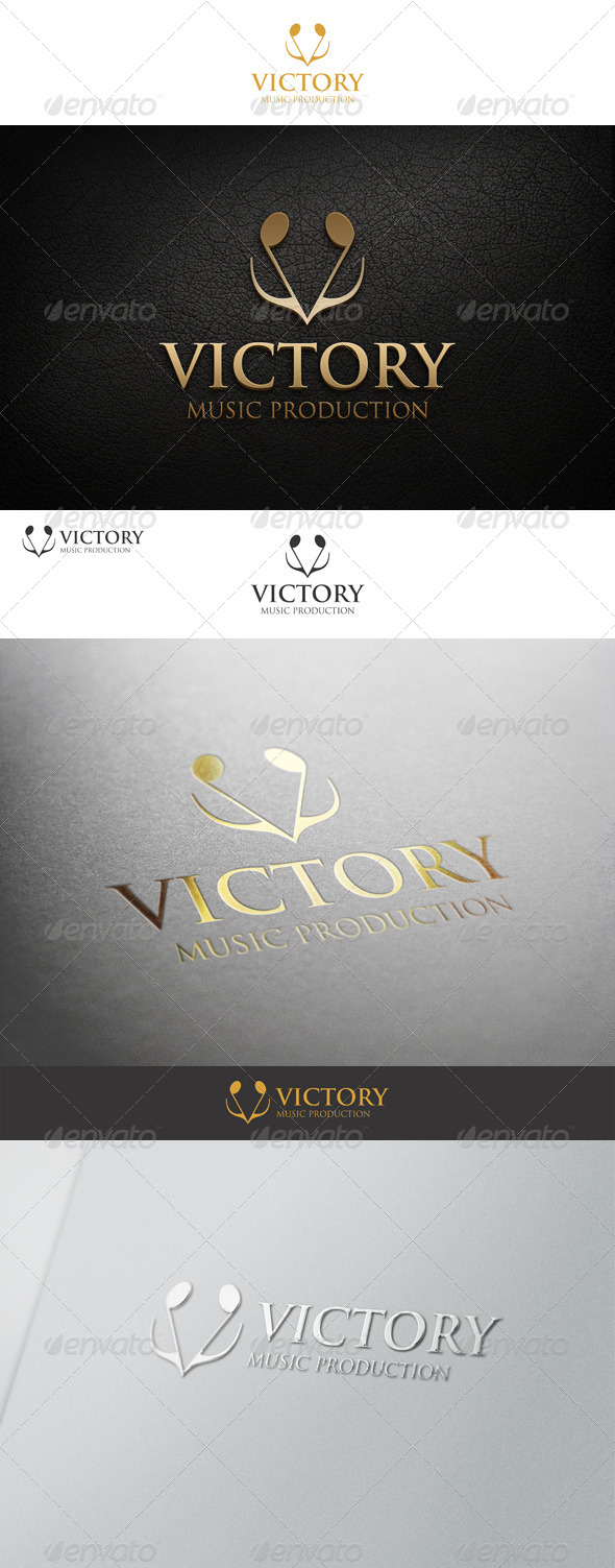Victory Logo - Note Music Concept - Letters Logo Templates