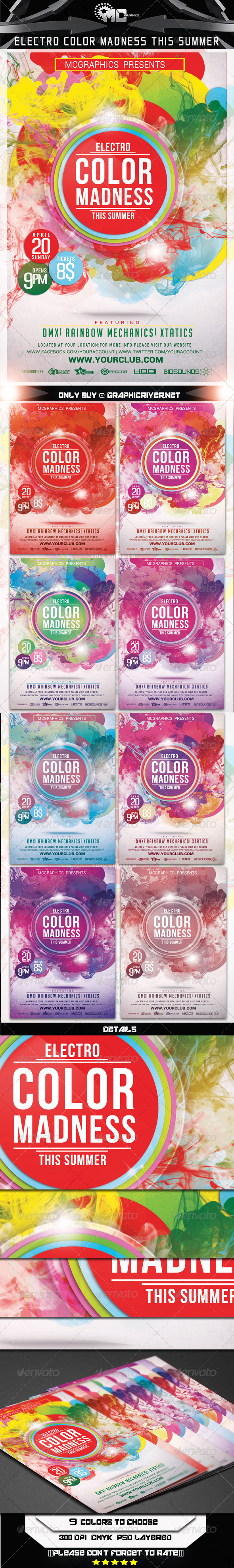 GraphicRiver Electro Color Madness This Summer Flyer Template 7186469