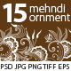 15 Mehndi Floral Ornaments Set#1 - GraphicRiver Item for Sale