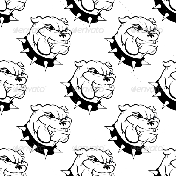 Seamless Pattern of a Dog with a Spiked Collar