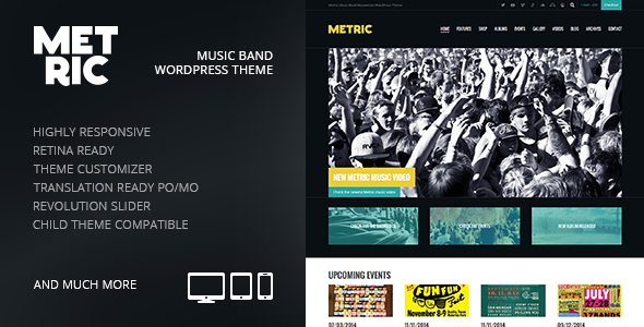 Metric: Music Band Responsive WordPress Theme