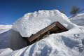 mountain house covered with snow. Chiesa Valmalenco, Italy - PhotoDune Item for Sale