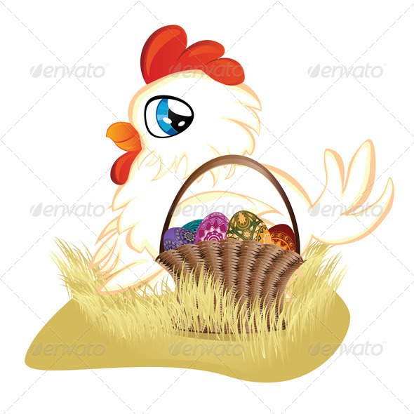 White Hen with Easter Eggs Basket