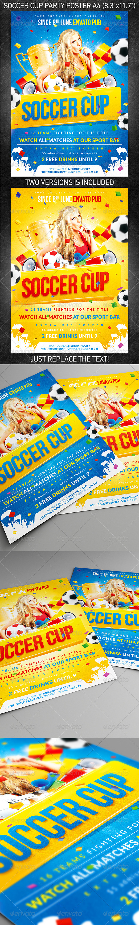 Soccer Cup party poster - Flyers Print Templates