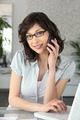 Executive secretary on phone
