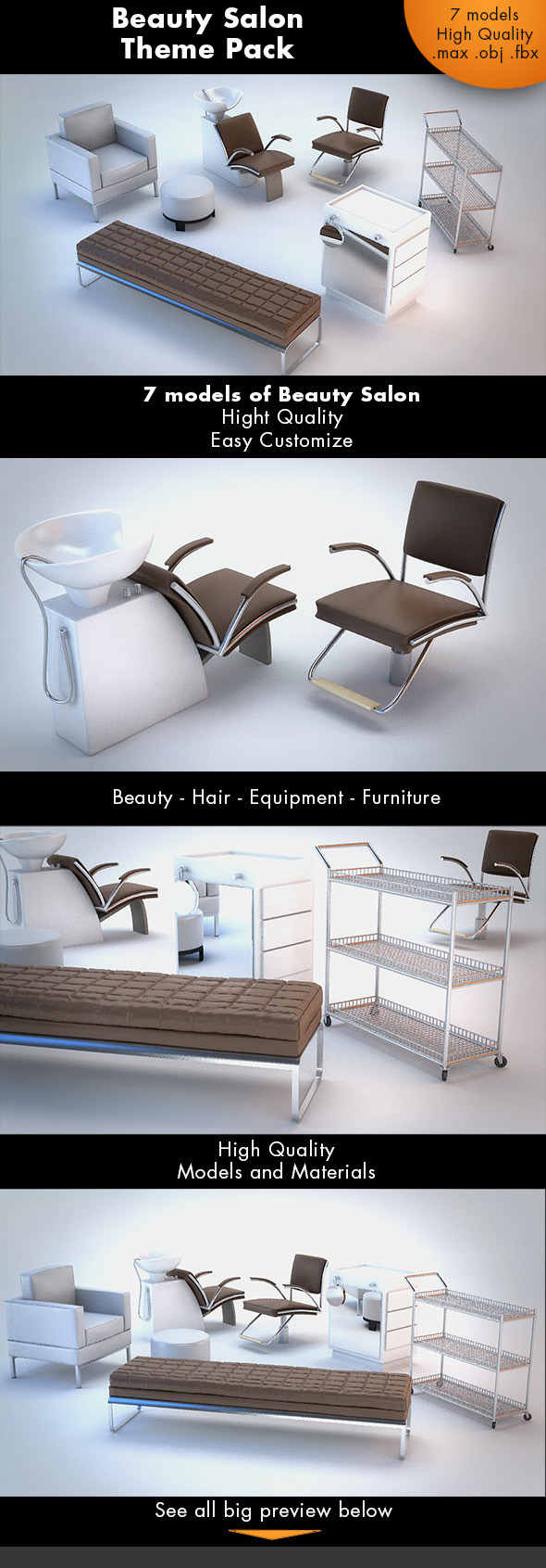 Beauty Salon Pack - 3DOcean Item for Sale