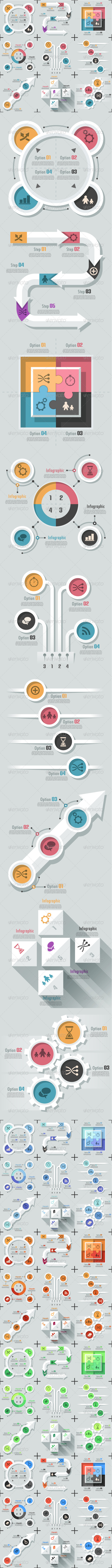 GraphicRiver Set Of 9 Flat Infographic Options Templates 7228681