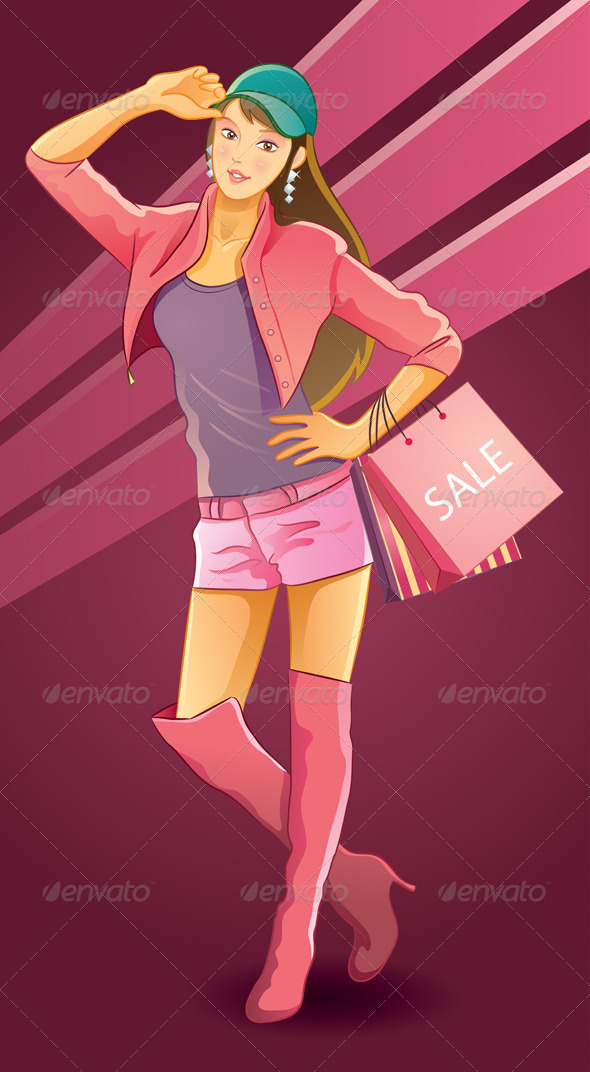 Pretty Girl Love Shopping - People Characters