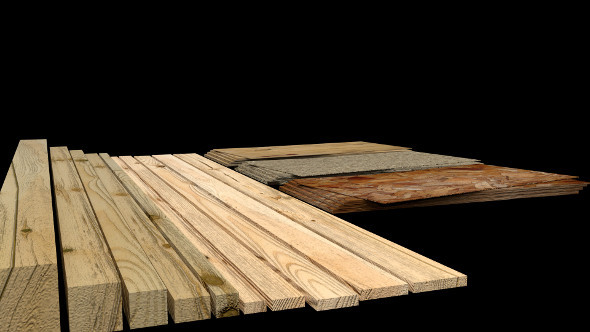 Construction Material Wooden Boards - 3DOcean Item for Sale