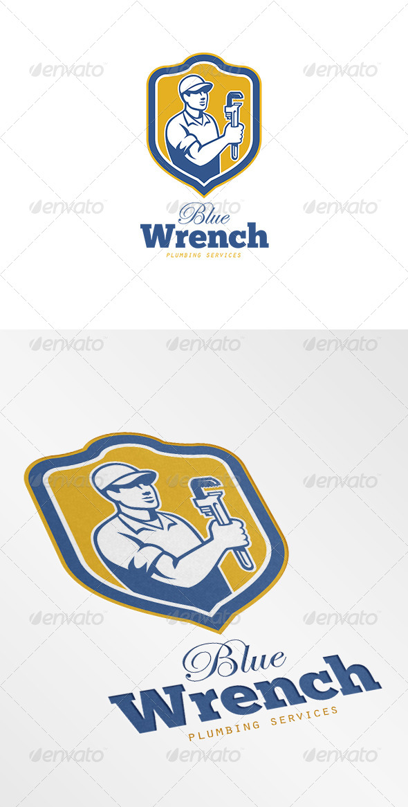 GraphicRiver Blue Wrench Plumbing Services Logo 7229547