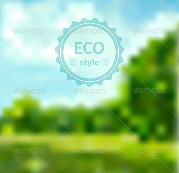 Blurred Green Abstract Background with Frame