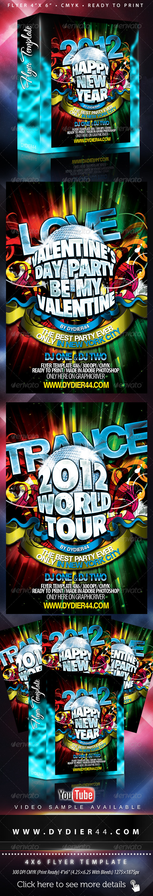 Happy New Year 2012 (Flyer Template 4x6 inches) - Clubs & Parties Events