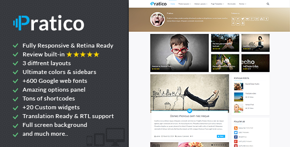 Pratico - Retina Responsive WordPress Blog Theme