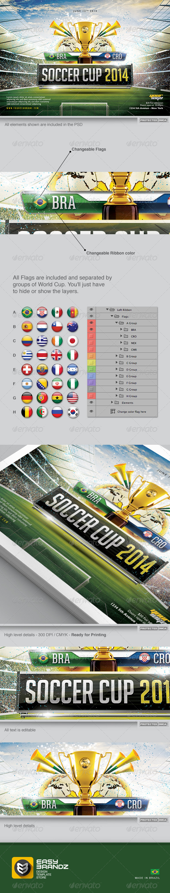 Soccer Cup 2014 Flyer Template - Sports Events