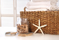 Closeup of laundry basket with fine linens - PhotoDune Item for Sale