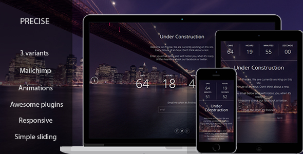 Precise - Responsive Coming Soon Template - Under Construction Specialty Pages