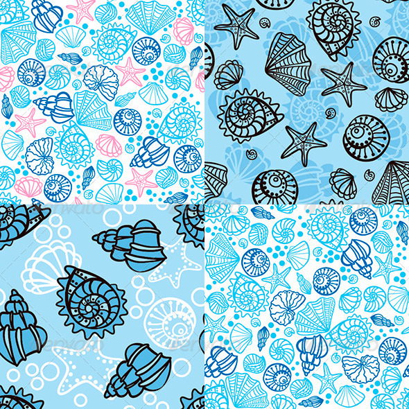 Set of four seamless patterns with seashells