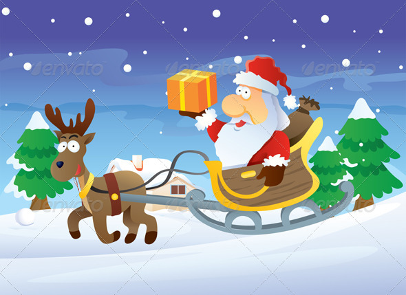 Santa and Reindeer at Christmas - Christmas Seasons/Holidays