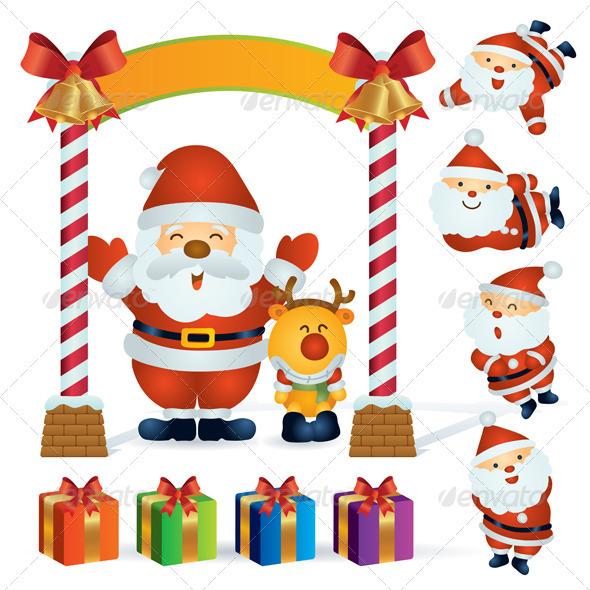 Santa and Reindeer at Christmas - Christmas Seasons/Holidays