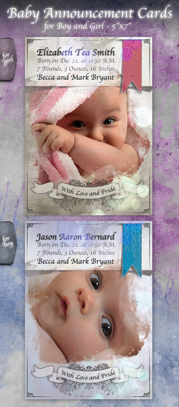 GraphicRiver Baby Announcement Card 757941