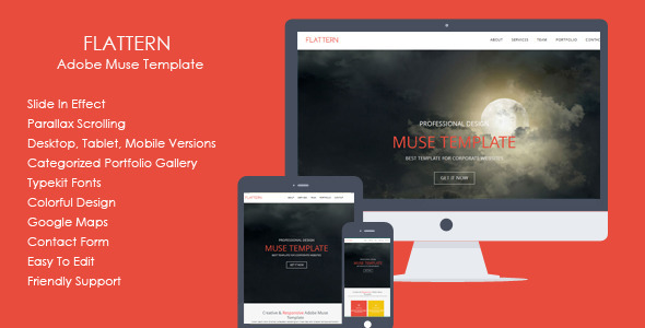 ThemeForest Flattern One Page Flat Muse Template 7240171