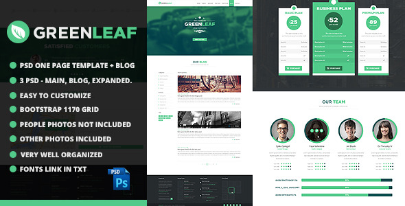 GreenLeaf One Page Web + Blog PSD Template