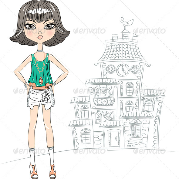 Vector Hipster Fashion Girl Top Model in the City - People Characters