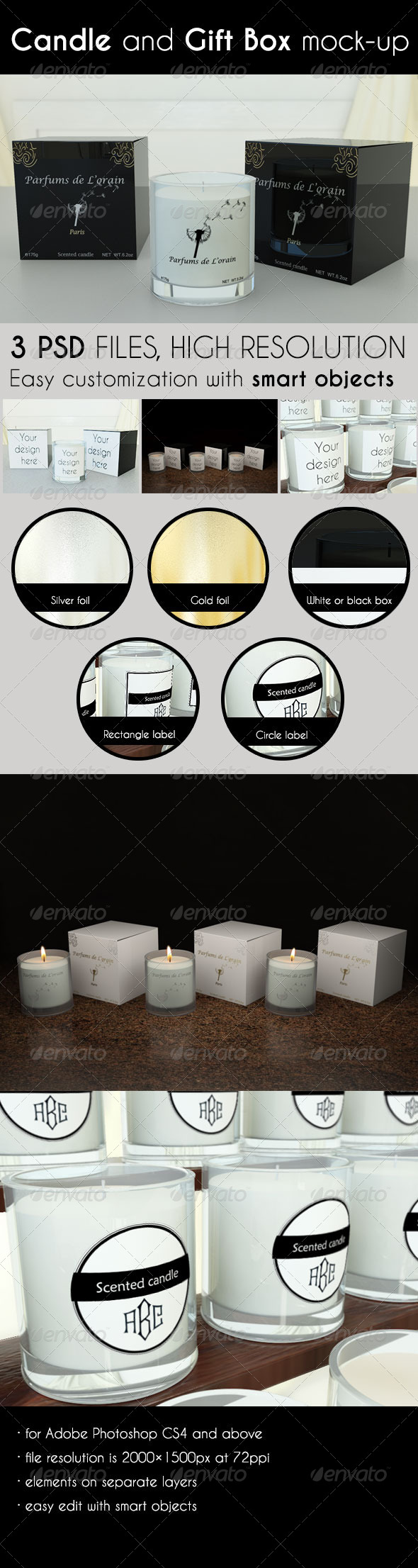 Candle and Gift Box Mock-Up