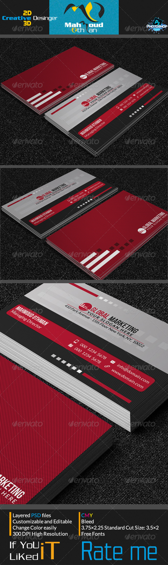 Simple Red Business Card V05