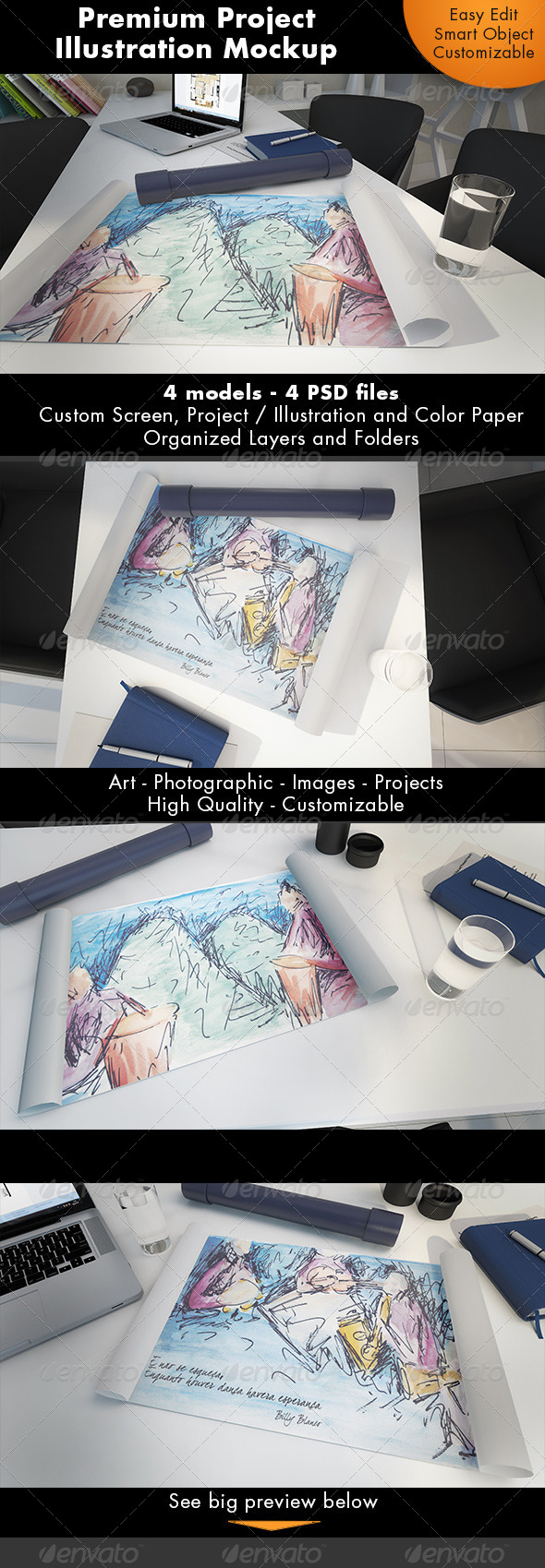 Project / Illustration Mockup - Miscellaneous Print