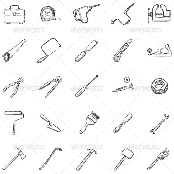 Vector Set of Sketch Work Tools Icons