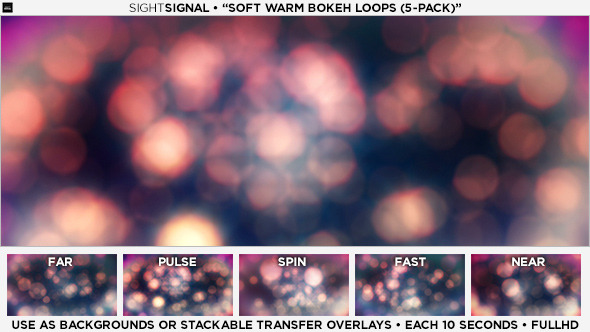 Soft Warm Bokeh Loops 5-Pack