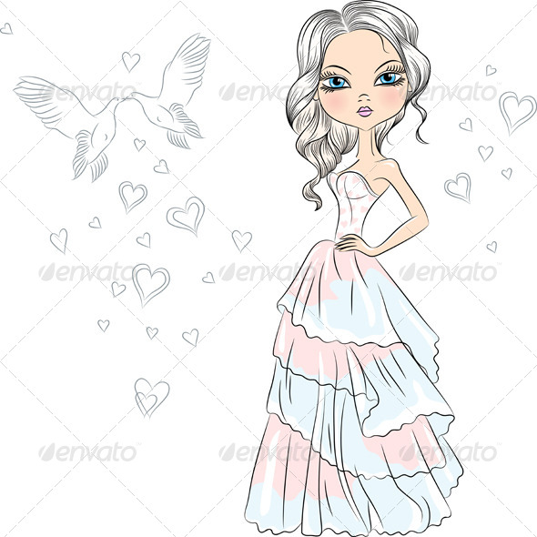 Fashionable Girl Bride - People Characters
