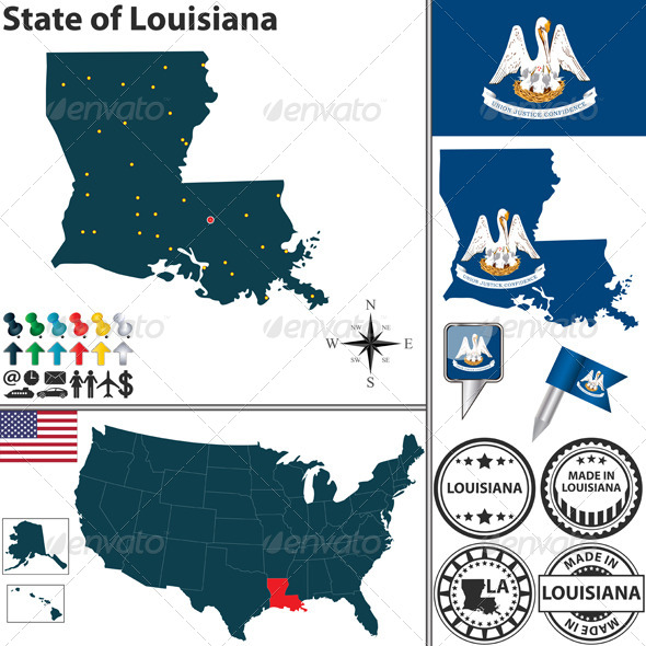 Map of state Louisiana USA