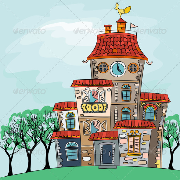 Vector Fairytale Multicolored House - Man-made objects Objects