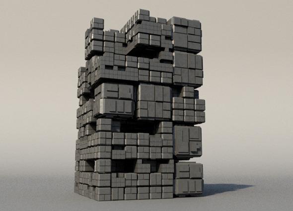 Sci Fi Box Building - 3DOcean Item for Sale